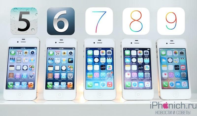 Быстродействие iPhone 4s на iOS 5-iOS 9 (видео)