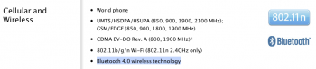 У iPhone 4S  Bluetooth 4.0