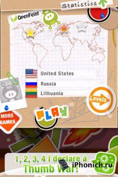Игра на iPhone Finger Physics: Thumb Wars