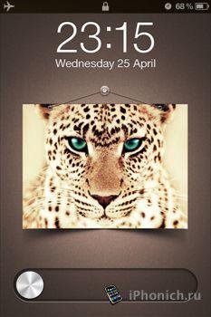 Chrome Feline HD LS - тема на Lockscreen iPhone