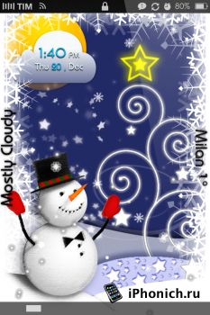 LS xMas Snowman GPS - тема для iPhone 4S