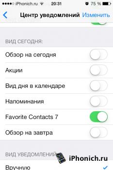 Твик Favorite Contacts 7 - избранные контакты в Центре уведомлений (iOS 7)
