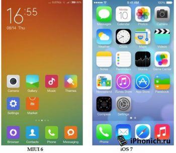 Оболочка MIUI6 копия iOS от китайцев