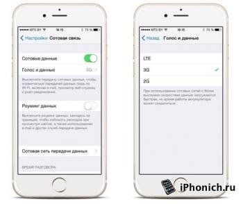 На iOS 8.1 нет переключателя сети: 2G, 3G и LTE