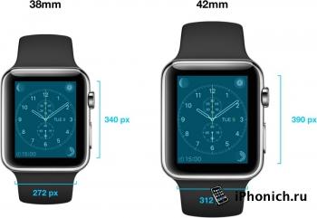 У Apple Watch разрешение экрана 272х340 и 312х390