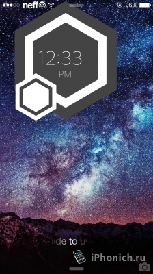 Hexaclock тема на экран блокировки iPhone с часами