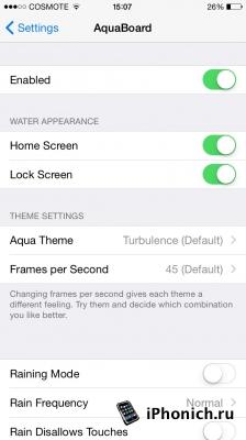 Твик AquaBoard - живые обои для iPhone (iOS 8.4)