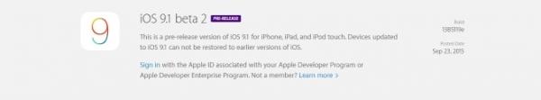 Скачать iOS 9.1 beta 2