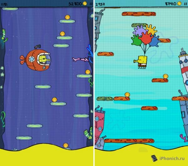 Игра Doodle Jump SpongeBob SquarePants - в течении недели бесплатна