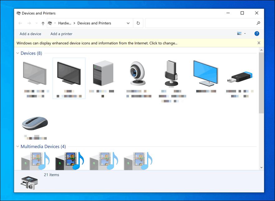 Список устройств в меню «Устройства и принтеры» Windows 10.